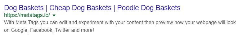 google serp listing meta example dogs