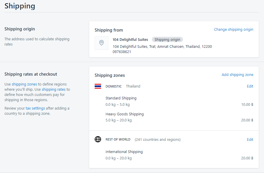shipping settings shopify