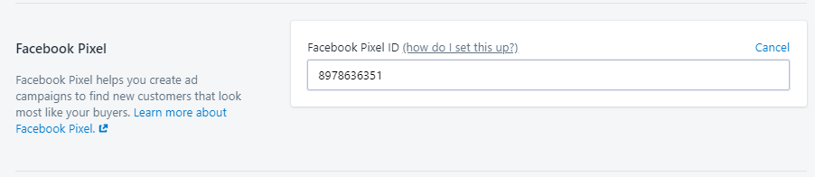 facebook pixel insert shopify settings