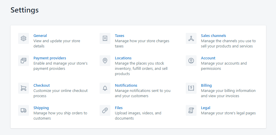 shopify settings step by step
