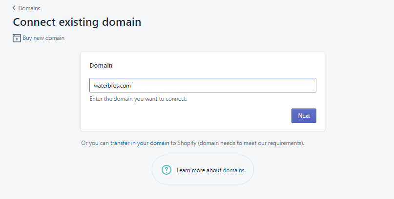 connect an existing domain to shopify